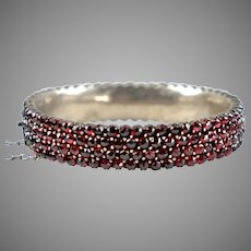 Antique Bohemian Garnet Bangle Bracelet For Repair