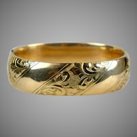 Victorian Wide Gold Filled Bangle Bracelet