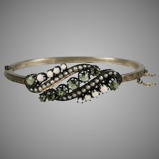 Victorian SS Peridot Coral Seed Pearl Bangle Bracelet