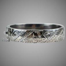Wide English Victorian Revival Sterling Bangle Bracelet