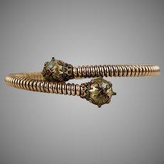 Victorian Etruscan Revival Garnet Stretch Bangle Bracelet