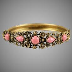 Victorian Revival Coral Glass Bangle Bracelet