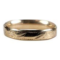 Victorian Wide Gold Filled Chased Bangle Bracelet