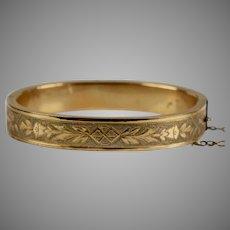 Victorian Gold Filled Chased Bangle Bracelet