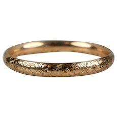 Victorian Rose Gold Filled Chased Bangle Bracelet