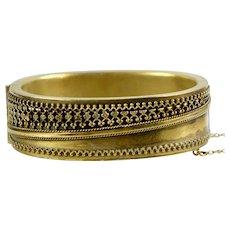 Victorian Wide Etruscan Revival GF Bangle Bracelet