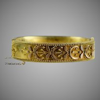Victorian Etruscan Revival Gold Bangle Bracelet