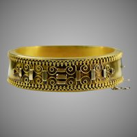 Victorian Etruscan Revival Rose GF Bangle Bracelet