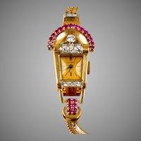 1940s 14K Rose Gold Ruby Diamond Wrist Watch Bracelet
