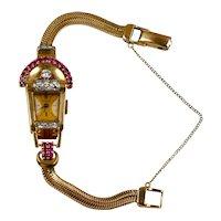 Retro 14K Rose Gold Ruby Diamond Wrist Watch Bracelet