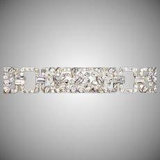 Exquisite Art Deco Sterling White Sapphire & Paste Bracelet