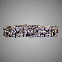 Exquisite Art Deco Sterling White Sapphire Bracelet