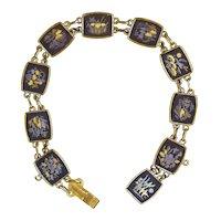 Vintage Japanese Gold & Silver Inlay Bracelet