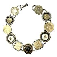 Art Deco Gold, Silver & Black Cuff Link Bracelet