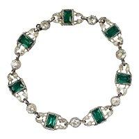 Art Deco Sterling Silver Emerald & Diamond Paste Bracelet