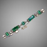 Art Deco Sterling Chrysoprase Marcasite Bracelet
