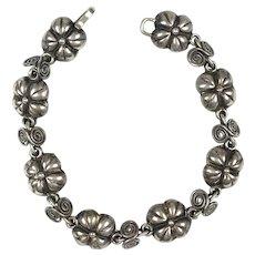 Mexican Sterling Silver Flowers Bracelet