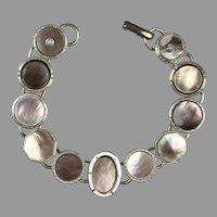 Art Deco Abalone Seed Pearl Cufflink Bracelet