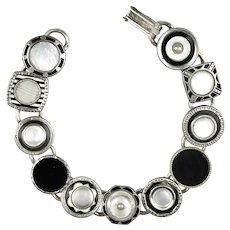 Art Deco MOP Black & White Cuff Link Bracelet