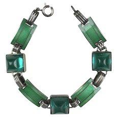 Art Deco Sterling Enamel and Glass Bracelet