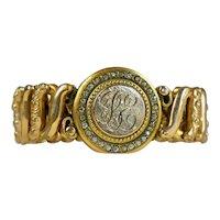 Rare Adjustable GF Stretch Bracelet with Paste Crystals