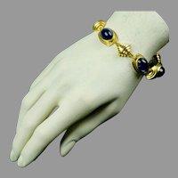 Retro 1940s Monet Blue Cabochon Bracelet