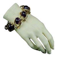 Bold Retro 1940s Amethyst Glass Cabochon Bracelet