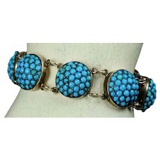 Victorian 14K Gold Turquoise Bracelet for Small Wrist