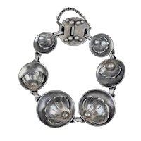 Vintage Sterling Silver Scallop Shells Bracelet