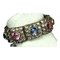 Smashing Wide Hobe Jeweled Vermeil Bracelet