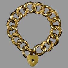 Rare Victorian GF Large Curb Bracelet Heart Key