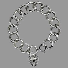Victorian Sterling Silver Large Curb Bracelet Heart