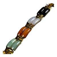 Vintage 14K Gold Jade Multicolor Double Row Greek Key Bracelet