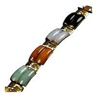 Vintage 14K Gold Jade Multicolor Wide Bracelet
