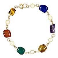 Vintage Cultured Pearl & Semi Precious Stones Bracelet