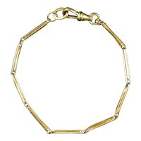 Victorian Gold Filled Thin Bar Link Chain Bracelet
