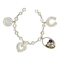 Vintage GF Cultured Pearl Charm Bracelet