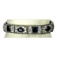 Dazzling Art Deco Bracelet Blue & White Crystals
