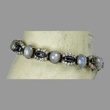 Rare Art Deco Sterling White, Blue, and Star Sapphire Bracelet