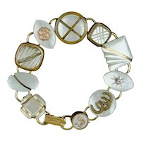 Victorian Chunky Mother of Pearl Cuff Button Bracelet