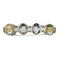 Vintage Japanese Sterling Silver Lucky Gods Bracelet