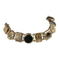 RARE Victorian Chunky GF & Stones Cuff Button Bracelet