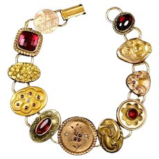 Victorian Chunky GF Red Stones Cuff Button Bracelet