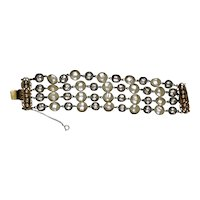 Knockout 4-Strand Baroque Pearl Bracelet by Freirich