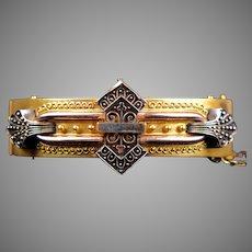 Bold Victorian Etruscan Revival GF Bangle Bracelet