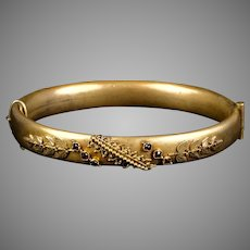 Victorian Etruscan Revival GF Bangle with Garnets