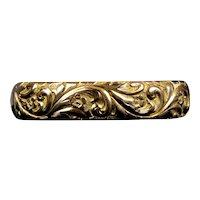 Victorian Wide Gold Filled Deep Chasing Bangle Bracelet