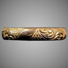 Lovely Wide Victorian Gold Filled Bangle Bracelet   Engraved Flowers   Black Enamel  Top Quality