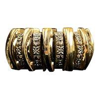 Unique Mid-Century Wide Gold Stretch Bangle Bracelet