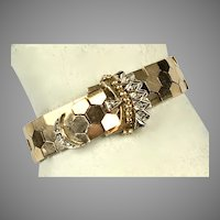 Flexible 14K Rose Gold Diamond Buckle Bracelet